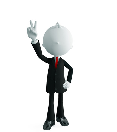 3d illustration of white businessman with win pose