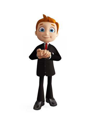 pawn adult: 3d illustration of businessman with promise pose