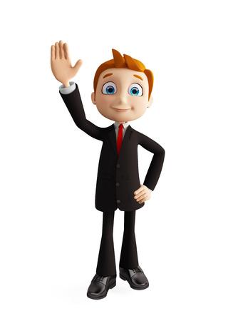 3d illustration of businessman with saying hi pose illustration
