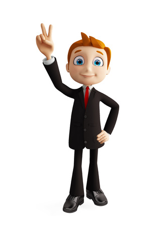 3d illustration of businessman with win pose