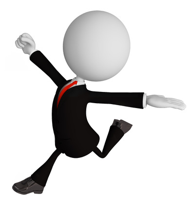 3d illustration of businessman white character with running pose
