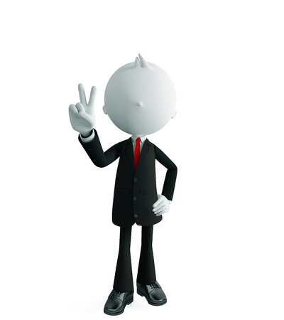 face off: 3d illustration of white businessman with win pose
