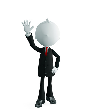 bye: 3d illustration of white businessman with bye pose