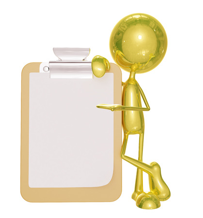 writing pad: 3d Illustration of  golden character with writing pad Stock Photo