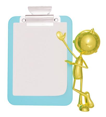affluence: 3d illustration of golden character with presentation pose