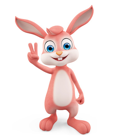 conquer: 3d illustration of Easter Bunny with win pose