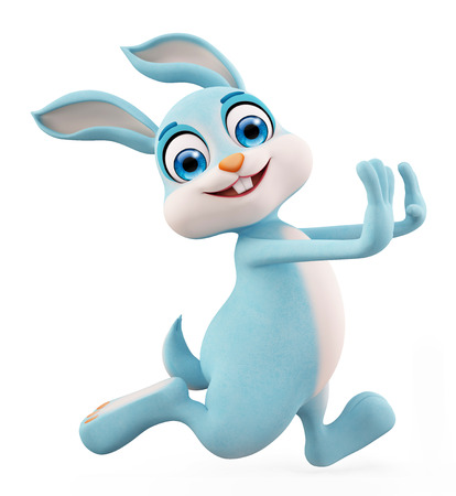 jack rabbit: 3d illustration of Easter Bunny with running pose
