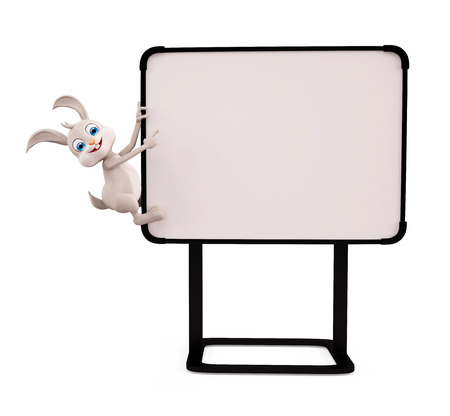 jack rabbit: 3d illustration of Easter Bunny with sign board