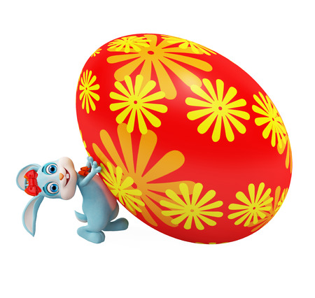 3d illustration of Easter Bunny with colorful eggs illustration