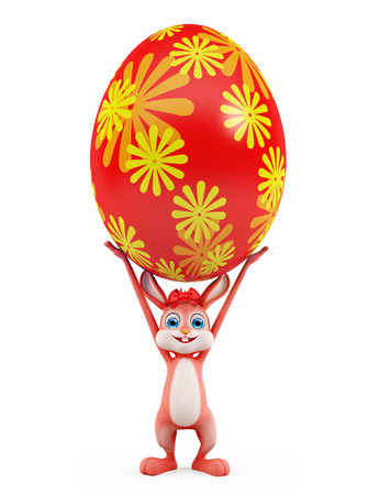 jack rabbit: 3d illustration of Easter Bunny with colorful eggs