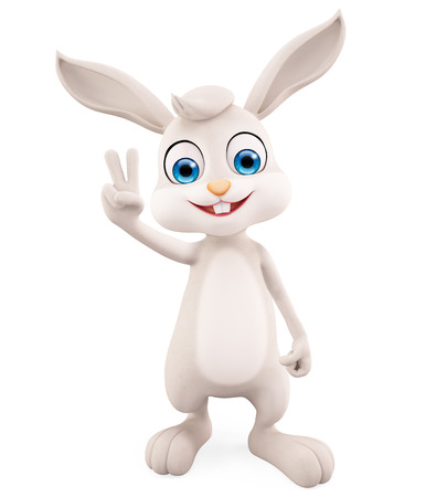 3d illustration of Easter Bunny with winning pose Stock Photo