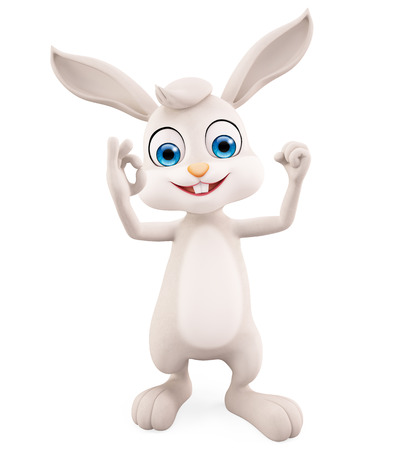jack rabbit: 3d illustration of Easter Bunny with best sign  pose Stock Photo