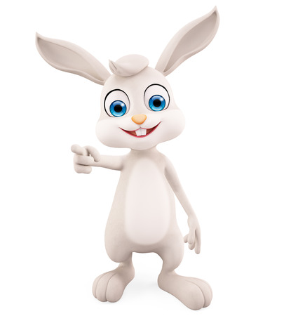 jack rabbit: 3d illustration of Easter Bunny with pointing pose
