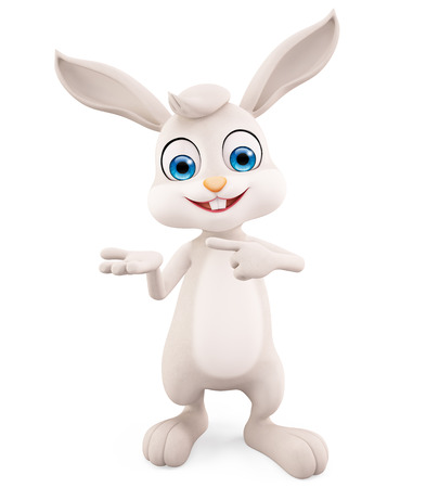 jack rabbit: 3d illustration of Easter Bunny with presentation pose Stock Photo