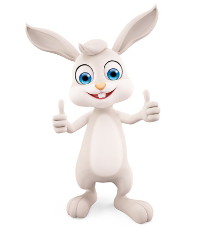 jack rabbit: 3d illustration of Easter Bunny with thumbs up pose