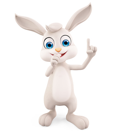 jack rabbit: 3d illustration of Easter Bunny with pointing sign pose