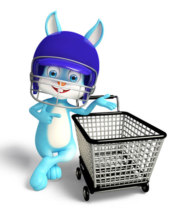 jack rabbit: 3D illustration of Easter bunny with helmet and shopping trolley