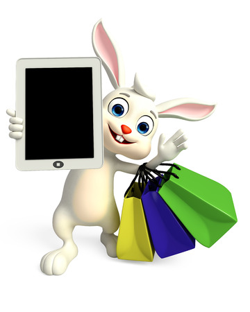 android tablet: 3D illustration of Easter bunny with tab and shopping bag