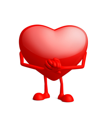 promise: Illustration of 3d heart character with promise pose