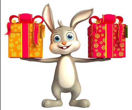 jack rabbit: 3D illustration of Easter bunny with giftbox