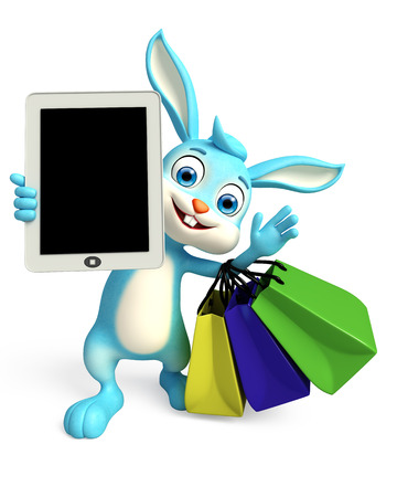 3D illustration of Easter bunny with tab and shopping bag illustration
