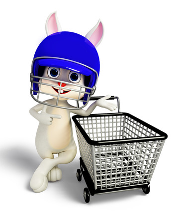 3D illustration of Easter bunny with helmet and shopping trolley illustration