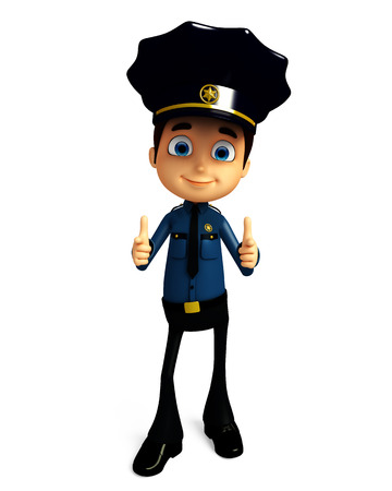 3d illustration of Policeman with pointing pose Stock Photo