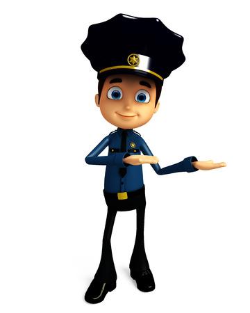 プレゼンテーション ポーズで警官の 3 d イラストレーション 写真素材
