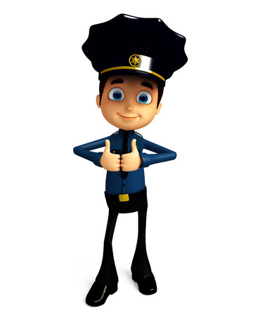 best security: 3d illustration of Policeman with thumbs up pose Stock Photo