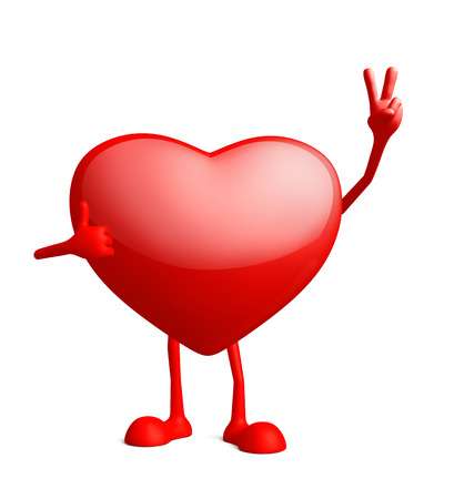 surmount: Illustration of 3d heart character with win pose Stock Photo