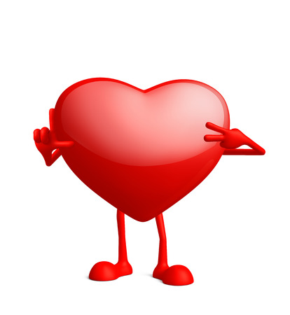 Illustration of 3d heart character with win pose Stock Photo