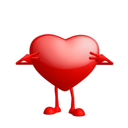 pull toy: Ilustraci�n de car�cter de coraz�n 3d con victoria pose