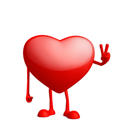 conquer: Illustration of 3d heart character with win pose Stock Photo