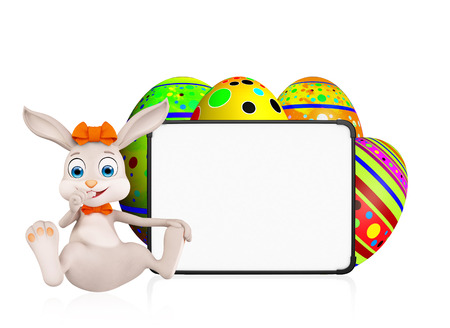 jack rabbit: 3D illustration of Easter bunny with eggs and signboard