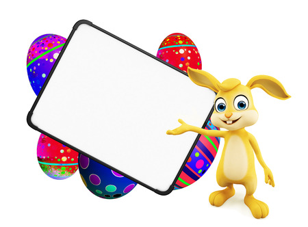 jack rabbit: 3D illustration of Easter bunny with eggs with signboard Stock Photo