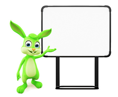 jack rabbit: 3D illustration of Easter bunny with sign board Stock Photo