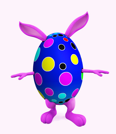 3D illustration of Easter bunny with walking pose illustration