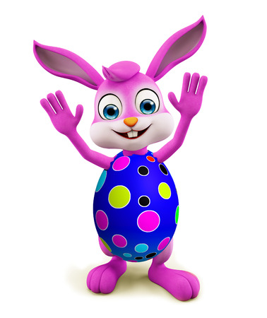 3D illustration of Easter bunny with saying hi pose Stock Photo