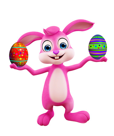 3D illustration of Easter bunny with colourful eggs illustration
