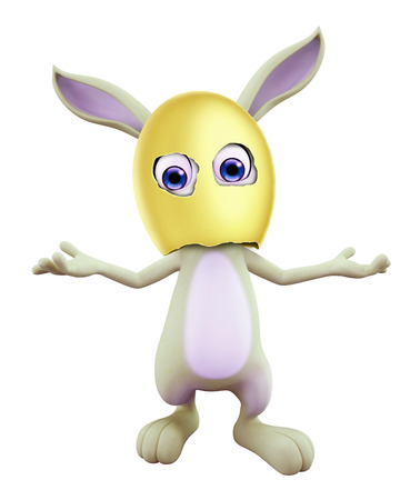 spoof: 3D illustration of Easter bunny with funny pose