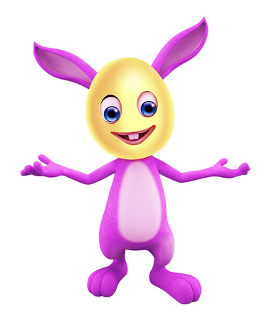 3D illustration of Easter bunny with funny pose illustration