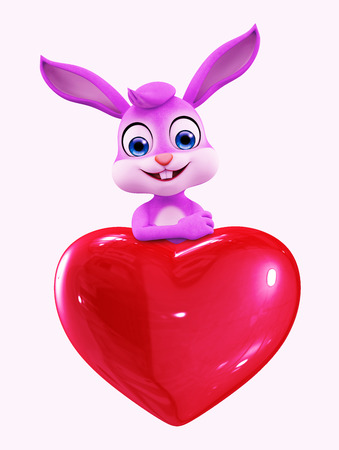 3D illustration of Easter bunny with heart sign illustration