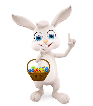 eggs basket: 3D illustration of Easter bunny with eggs basket Stock Photo