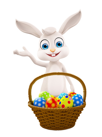 jack rabbit: 3D illustration of Easter bunny with eggs basket Stock Photo