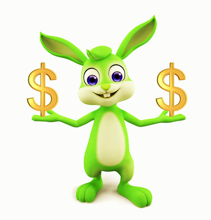 3D illustration of Easter bunny with dollar illustration