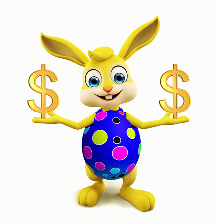 jack rabbit: 3D illustration of Easter bunny with dollar Stock Photo