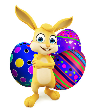 jack rabbit: 3D illustration of Easter bunny with colourful eggs