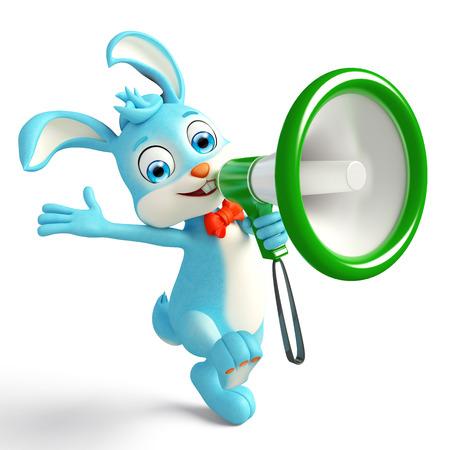 jack rabbit: 3d illustration of Easter bunny with Loudspeaker
