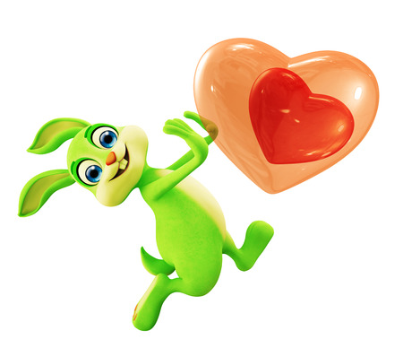 jack of hearts: 3d illustration of Easter bunny with Heart