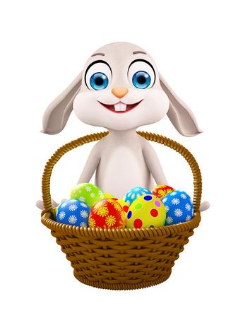 jack rabbit: 3d illustration of Easter bunny with Egg Basket